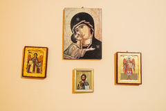 Ortodox icons. Saints on vintage ortodox icons Stock Photos