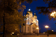 Ortodox katedra w Khabarovsk, Rosja w nocy fotografia stock