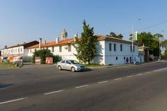 Ortodox kloster av St George Sikt från från gatan av den Knyaz tsar Boris I Arkivfoto