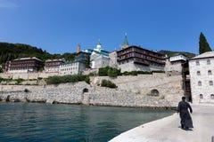 Ortodox kloster för ryssSt Pantaleon på Mount Athos royaltyfria bilder