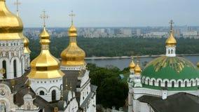 Ortodox kristen kloster Guld- kupoler av domkyrkor och kyrkor, Kiev-Pechersk Lavra Monastery arkivfilmer