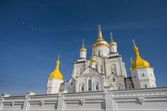 Ortodox kyrka av den komplexa Pochayiven Lavra Arkivfoto