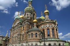 Ortodox kyrka av frälsaren på Spilled blod, St Petersburg Arkivfoto