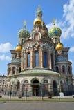 Ortodox kyrka av frälsaren på Spilled blod, St Petersburg Fotografering för Bildbyråer