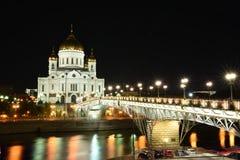 Ortodox kyrka av Kristus frälsaren på natten, Moskva arkivfoton