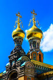 """Ortodox kyrka (byggd †1897 """"1899) i Darmstadt, Tyskland arkivfoton"""