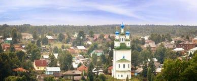 Ortodox kyrka för panoramalandskap Royaltyfri Foto