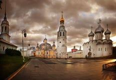Ortodox kyrka för panoramalandskap Royaltyfri Bild