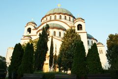 Ortodox kyrka i Belgrade Arkivbilder