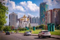 Ortodox kyrka i det Cheremushki området, Moskva, Ryssland Arkivfoto