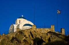 Ortodox kyrka i Kamari Arkivbilder