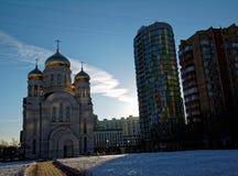 Ortodox kyrka i Moskva i vintern Royaltyfri Fotografi