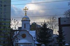 Ortodox kyrka i Moskva i vintern Arkivbilder