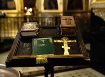 Ortodox kyrka, religionen av kristendomen, förberedelsen för dop arkivbilder