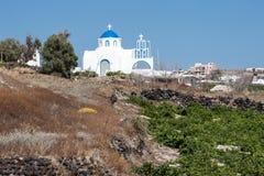 Ortodox kyrka Thira Santorini Grekland Royaltyfria Bilder