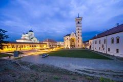 Ortodox och katolsk domkyrka i Alba Iulia Arkivbild