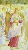 Ortodox religiös kristen målning av änglar på den kyrkliga väggen royaltyfri foto