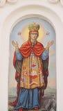 Ortodox religiös kristen målning av helgon på den kyrkliga väggen royaltyfri fotografi