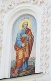 Ortodox religiös kristen målning på den kyrkliga väggen arkivfoto
