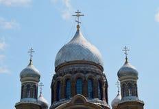 ortodox ryss för kyrkliga cupolas Fotografering för Bildbyråer