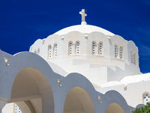 Ortodox storstads- domkyrka Fira Santorini Grekland Royaltyfria Foton