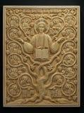Ortodox symbol som snidas från det kolossala betet Royaltyfria Foton