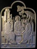 Ortodox symbol som snidas från det kolossala betet Fotografering för Bildbyråer