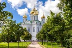 Ortodoxa Catherines domkyrka i den Pushkin staden (Tsarskoye Selo) Arkivfoto