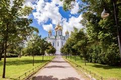 Ortodoxa Catherines domkyrka i den Pushkin staden (Tsarskoye Selo) Arkivbild