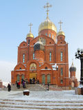Ortodoxa Christian Christmas, huvudsaklig domkyrka av den Kemerovo staden Fotografering för Bildbyråer