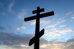 Ortodoxkors på blå himmel Royaltyfria Foton