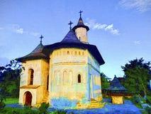 Ortodoxkyrka i Rumänien flod för målning för skogliggandeolja Royaltyfri Fotografi