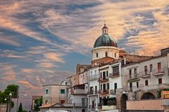 Ortona, Abruzzo , Italy: cityscape at sunrise of the old town royalty free stock images