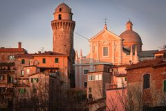 Ortonovo. View of Ortonovo at sunset. Ortonovo is a small, historic village near the Liguria and Tuscany border, Italy Royalty Free Stock Image