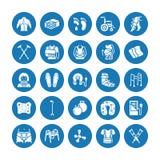 Ortopedi symboler för traumarehabiliteringskåra Kryckor madrasskudde, cervikal krage, fotgängare, medicinskt rehabgods stock illustrationer