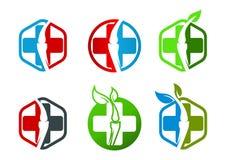 Ortopedia, hexágono, espinha, folha, espinal, osso, quiroterapia, natural, símbolo, logotipo e ícone ilustração royalty free