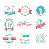 Ortopedisk läkarundersökning och diagnostiskt kliniksymbol royaltyfri illustrationer