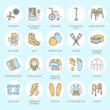 Ortopediskt traumarehabiliteringlinje symboler Kryckor, ortopedimadrasskudde, cervikal krage, fotgängare och annan royaltyfri illustrationer