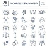 Ortopediskt traumarehabiliteringlinje symboler Kryckor, ortopedimadrasskudde, cervikal krage, fotgängare och annan vektor illustrationer
