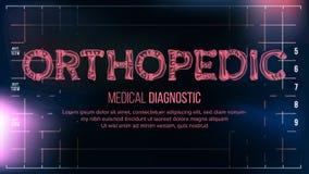 Ortopedyczny sztandaru wektor mapy tła oko medical optometrist Przejrzystego Roentgen radiologiczny tekst Z kościami Radiologii 3 ilustracji
