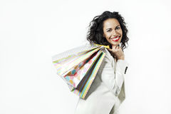 Ortrait of black woman happy with perfect shopping paper bags, smiling face. Ortrait of black woman happy with perfect shopping paper bags, smiling Royalty Free Stock Photography