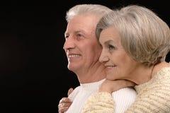 Ortrait van het oudere paar omhelzen Stock Afbeelding