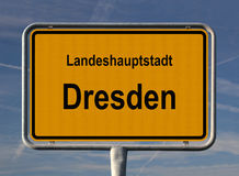 Ortsschild Landeshauptstadt Dresden. General city entry sign of Dresden, capital of Sachsen (Saxony) in the east of Germany stock photography