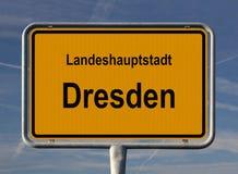 Ortsschild Landeshauptstadt Dresden Stock Photography