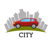 Ortsverkehr und Fahrzeuge Stockbild