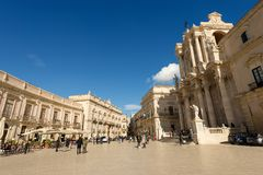 Cathedral Square - Ortygia Syracuse Sicily Italy Stock Images