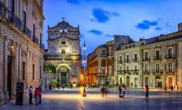Ortygia Piazza del Duomo Illuminated at Dusk Royalty Free Stock Photo