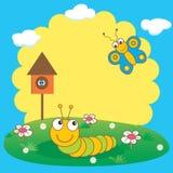 Oruga y mariposa. Fotos de archivo libres de regalías