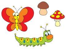 Oruga y mariposa Foto de archivo