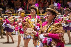 ORURO, BOLIVIA - FEBRUARY 10, 2018: Dancers at Oruro Carnival in. Bolivia, declared UNESCO Cultural World Heritag on February 10, 2018 in Oruro, Bolivia stock images